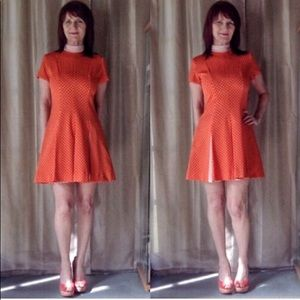 VINTAGE ORANGE WHITE POLKA DOT DRESS WITH PLEATS